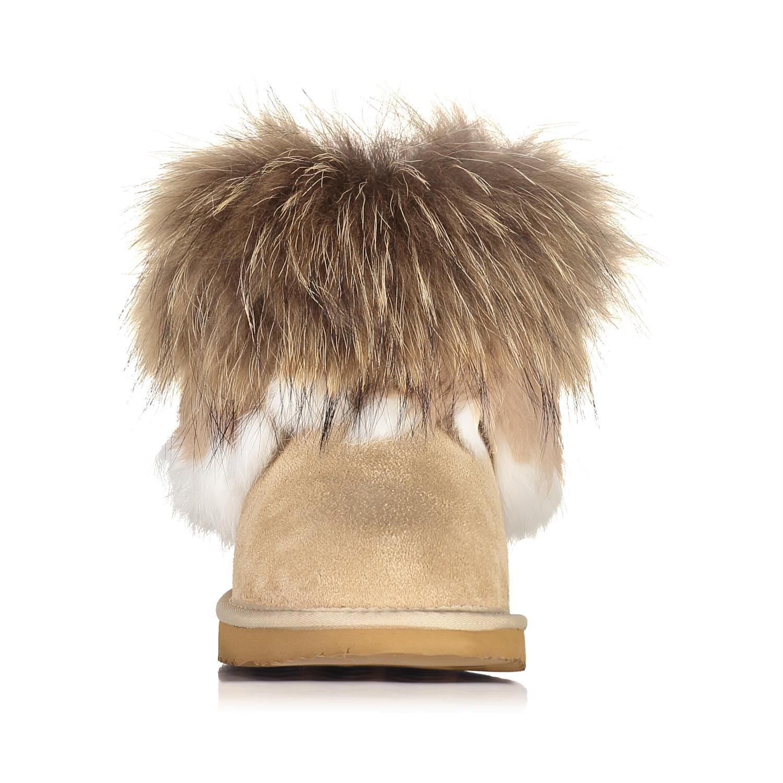 ad06123581ed3d OOG by H4F Damen echt Leder Boots Stiefel Pelz Fell Fellstiefel Fox Mini ( Farbe  Beige  Größe  41)  OOG  Amazon.de  Schuhe   Handtaschen