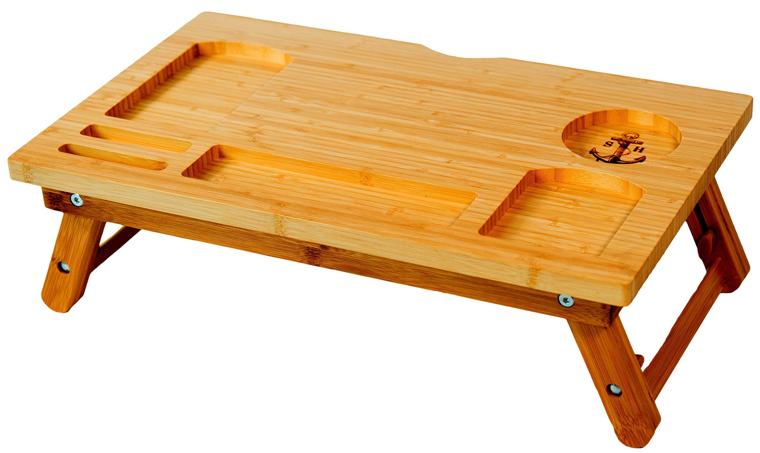 Stock Harbor Laptop Lap Desk, Bed Tray, Computer Monitor Stand of Sturdy Bamboo, Adjustable, Foldable and Large for All Your LapDesk Multitasking