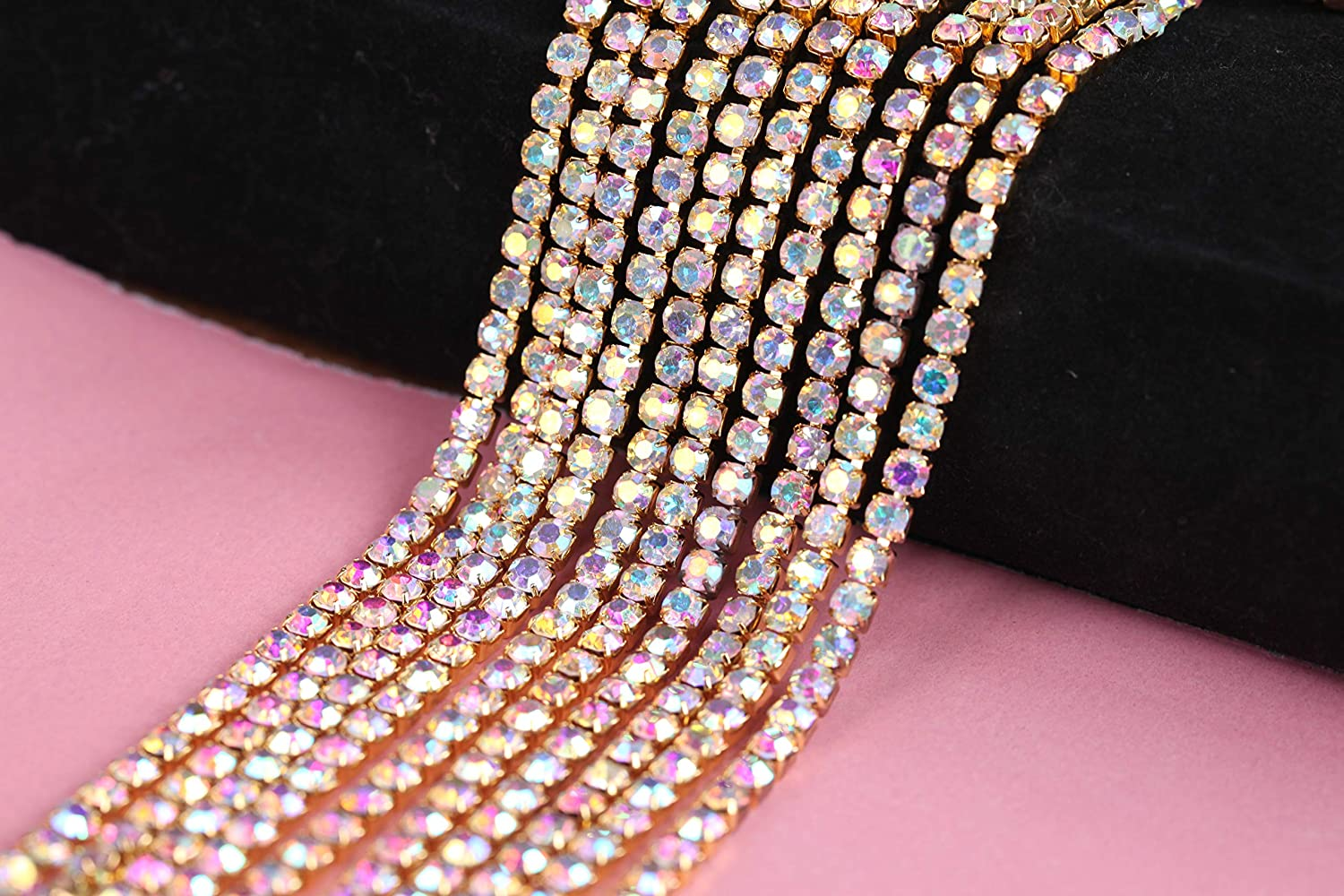 ss16-4mm, Crystal-Gold Bottom BLINGINBOX Rhinestones Chain 10 Yards//R 4 Sizes Crystal//Crystal AB Glass Sew On Rhinestones Cup Chain With Silver//Gold Button Sew On Trim