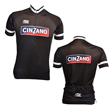 CINZANO Short Sleeve Cycle Jersey in Black Made in Italy by Pella (Large) 40e8944a9