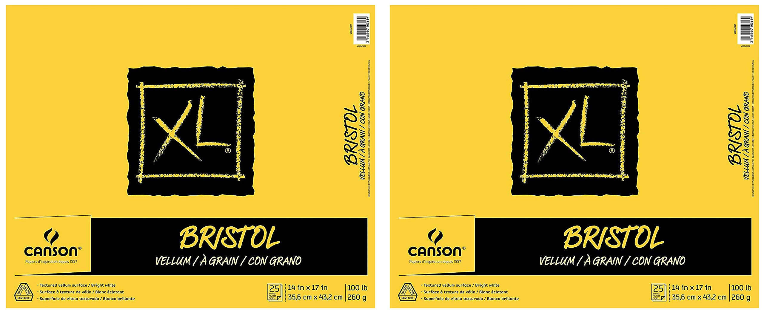 Canson XL Series Bristol Vellum Paper Pad, Heavyweight Paper for Pencil, Vellum Finish, Fold Over, 100 Pound, 14 x 17 Inch, Bright White, 25 Sheets (Twо Pаck)