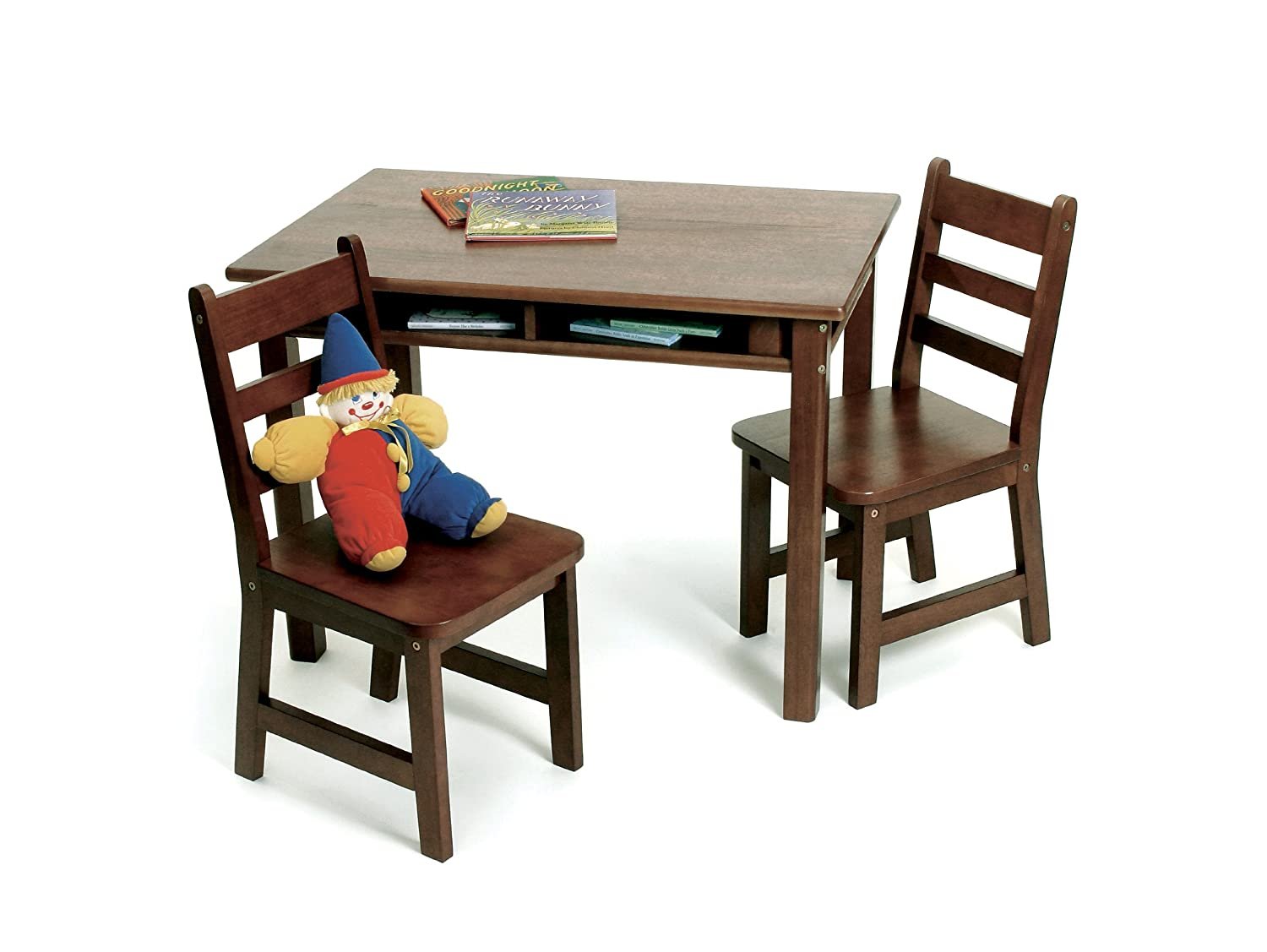 Amazon com  Lipper International 534WN Child s Rectangular Table with  Shelves and 2 Chairs  Walnut Finish  Kitchen   Dining. Amazon com  Lipper International 534WN Child s Rectangular Table