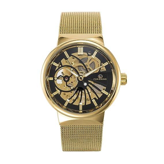 SOAP Hombres Relojes Relojes Mecánicos Automáticos Relojes de Correa de Acero Inoxidable de Malla Dorada Para Hombres: Amazon.es: Relojes