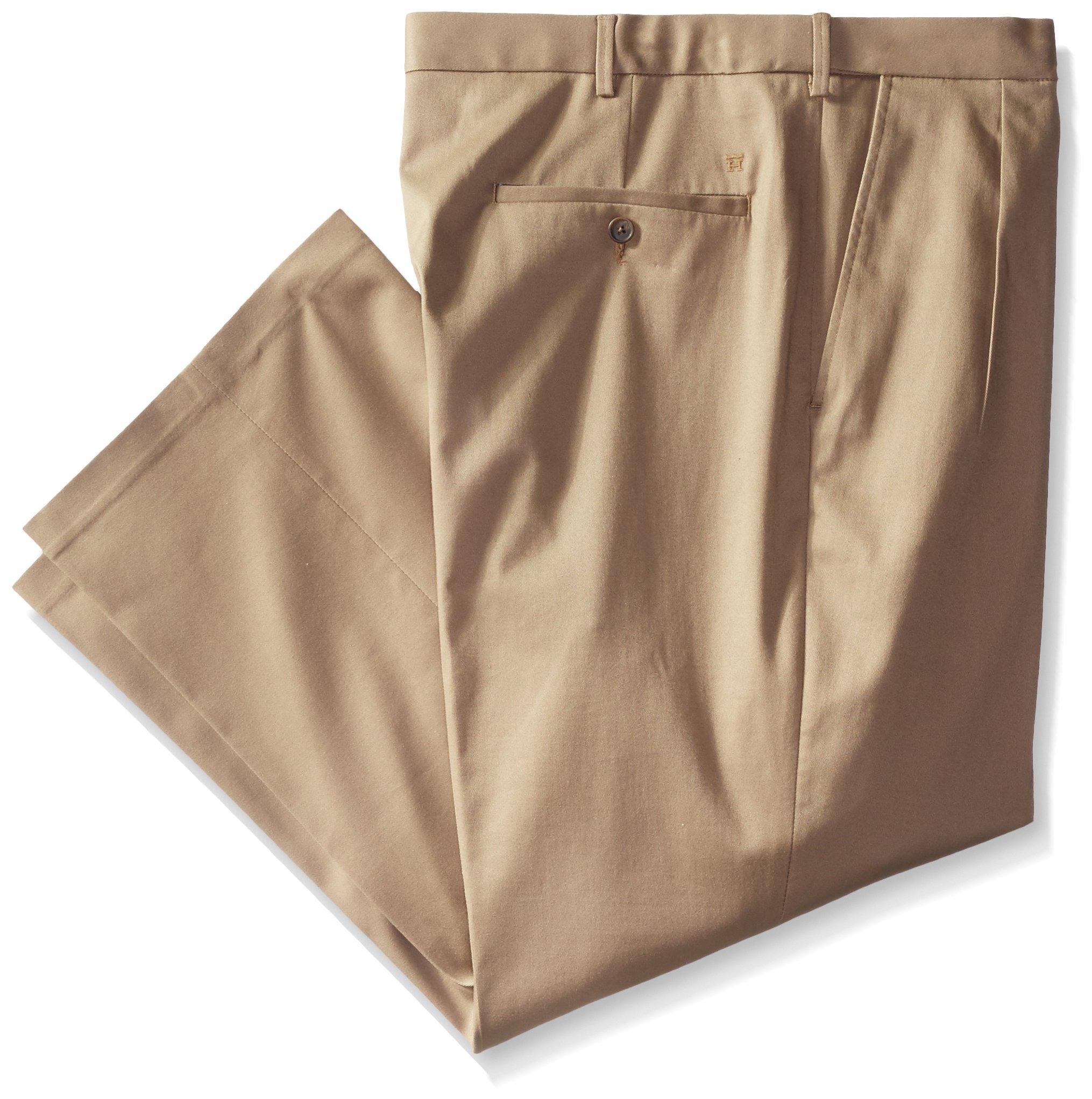 Haggar Men's Big-Tall Premium No Iron Classic Fit Pleat Front Pant, British Khaki, 44 x 34