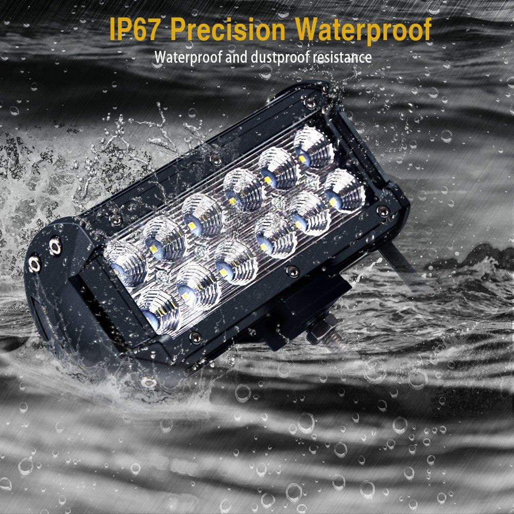 LED Light Bar ,SOLCO 2PCS 7 inch 36W Flood Beam Cree LED Work Light Led Bar Off Road IP67 Waterproof Fog Lights Driving Lights for Pickup Camper Jeep Trucks SUV UTV Tanks 4WD Van ATV,1 Year Warranty