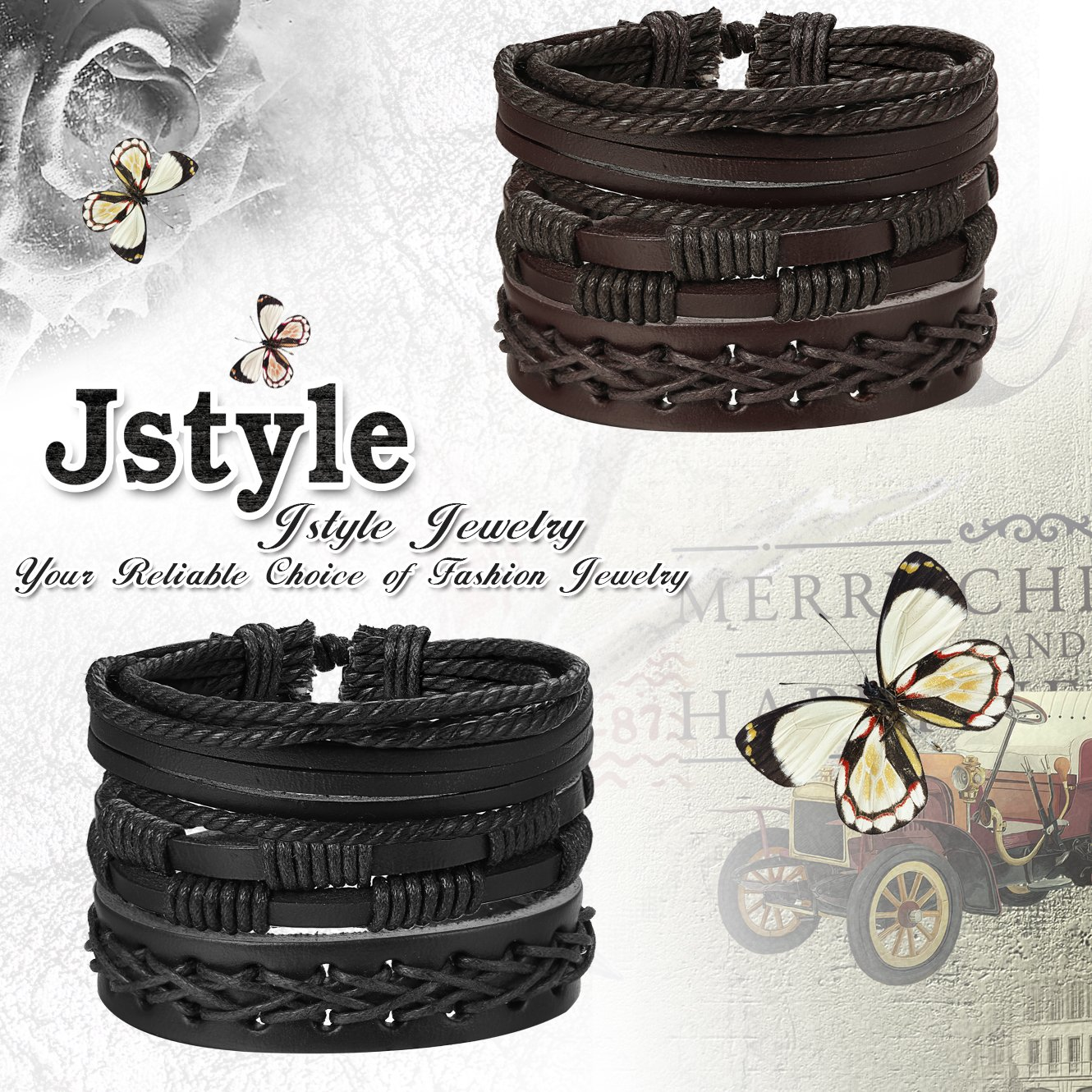 Jstyle 12Pcs Braided Leather Bracelet for Men Women Cuff Wrap Bracelet Adjustable Black and Brown (A:12Pcs) by Jstyle (Image #4)