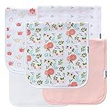 5-Pack Baby Burp Cloths for Girls, 100% Organic