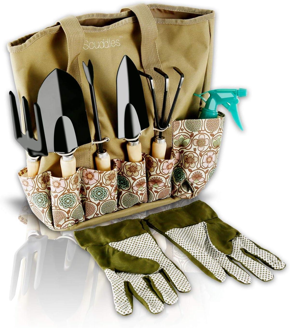 Scuddles Garden Tools Set – 8 Piece Heavy Duty Gardening tools With Storage Organizer, Ergonomic Hand Digging Weeder, Rake, Shovel, Trowel, Sprayer, Gloves Gift for Men Women