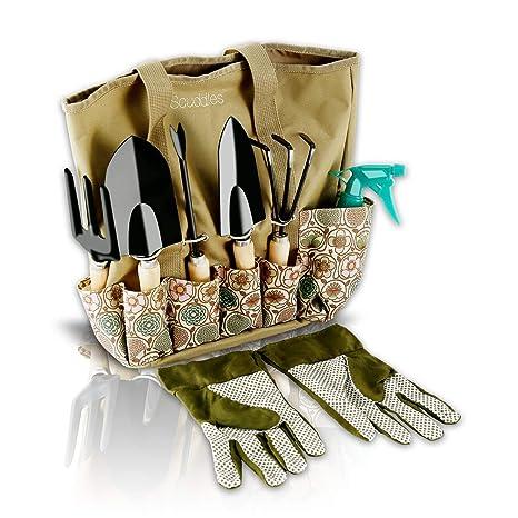 Scuddles Garden Tools Set 8 Piece Heavy Duty Gardening Tools With Storage Organizer Ergonomic Hand Digging Weeder Rake Shovel Trowel Sprayer