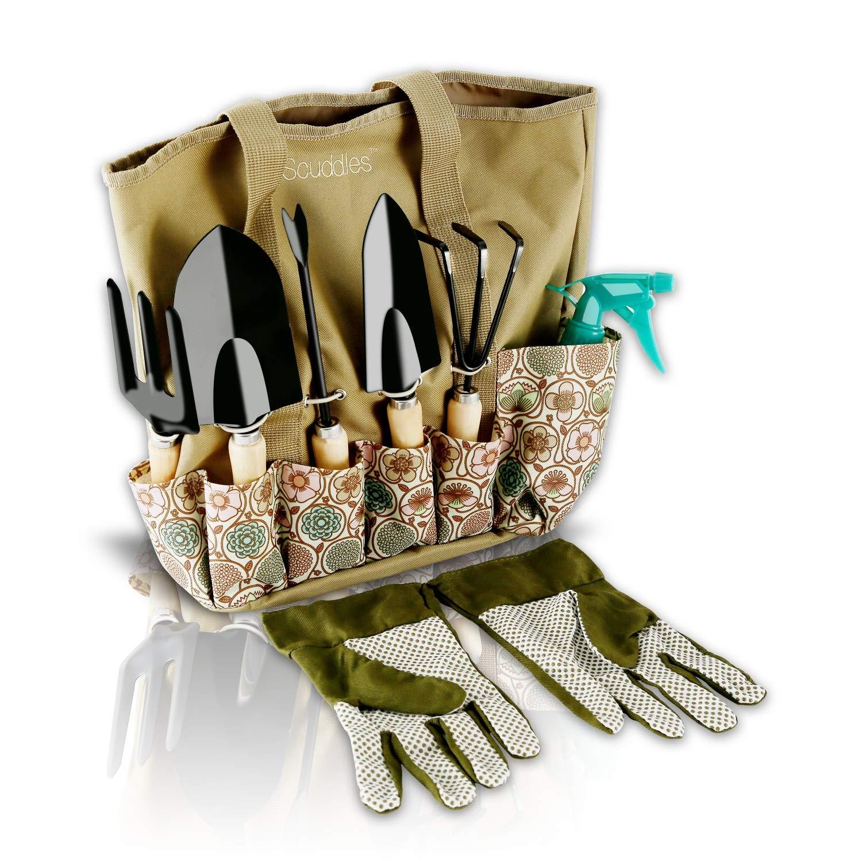 Scuddles Garden Tools Set - 8 Piece Heavy Duty Gardening Tools with Storage Organizer, Ergonomic Hand Digging Weeder, Rake, Shovel, Trowel, Sprayer, Gloves Gift for Men & Women (Floral)