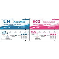 AccuMed Combo 50 Ovulation Test Strips & 25 Pregnancy Test Strips Kit, Clear and Accurate Results, FDA Approved and Over 99% Accurate