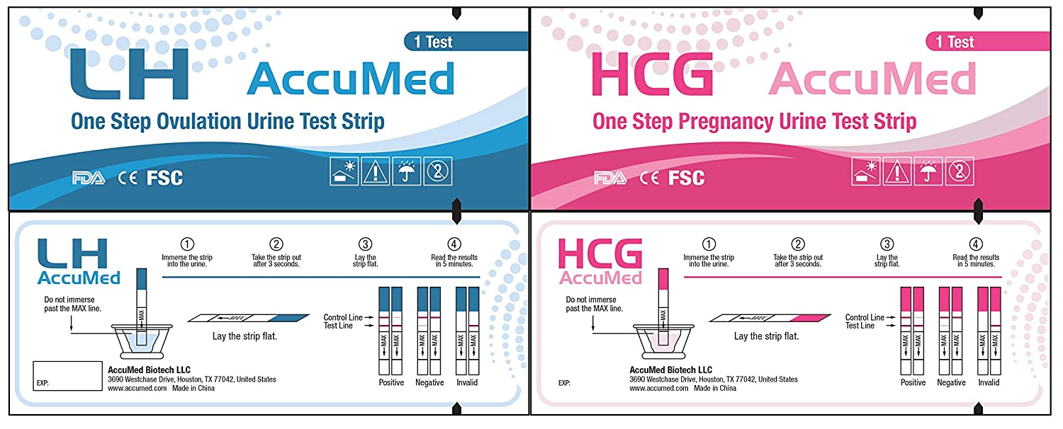 AccuMed Combo 20 Ovulation (LH) & 5 Pregnancy (HCG) Test Strips Kit, Clear and Accurate Results, FDA Approved and Over 99% Accurate