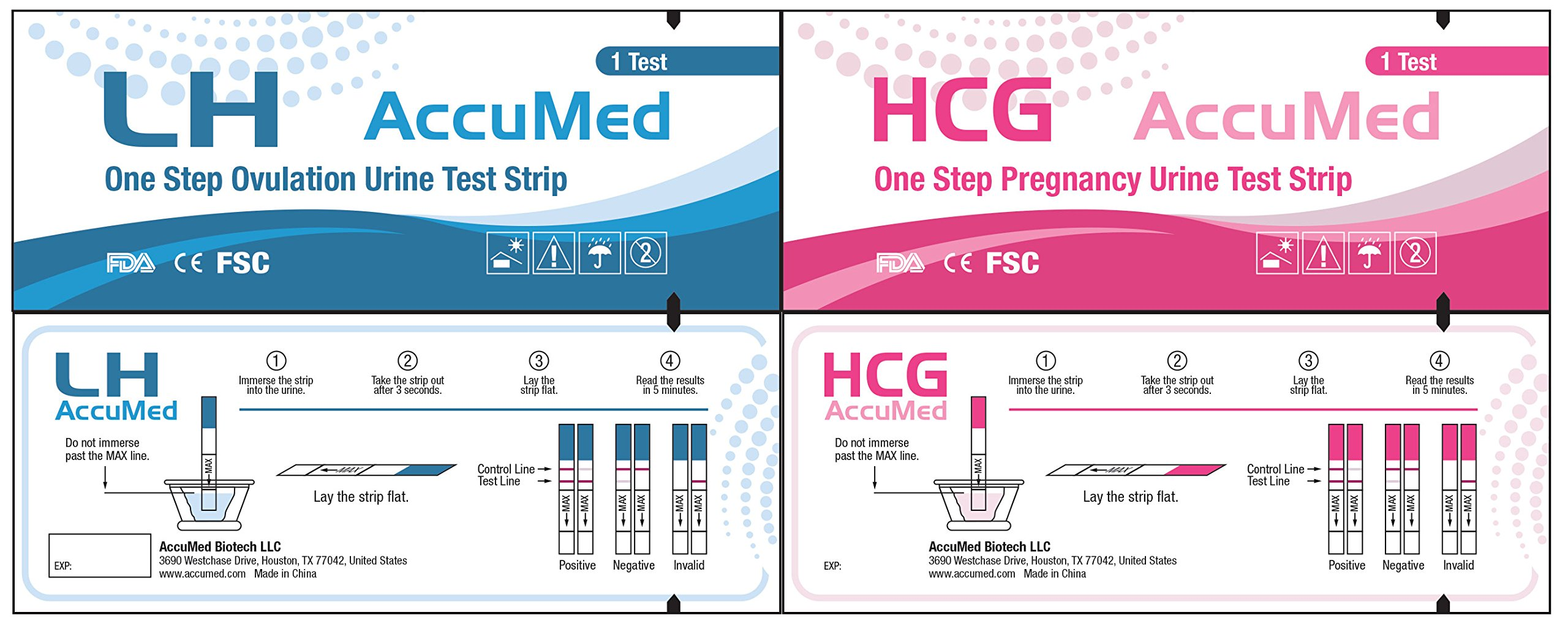 AccuMed® Combo 50 Ovulation Test Strips & 25 Pregnancy Test Strips Kit, Clear and Accurate Results, FDA Approved and Over 99% Accurate