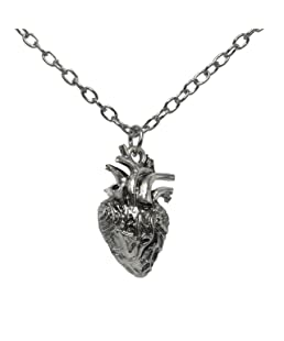 Anatomical Full 3D Human Heart Necklace Anatomic Heart Pendant Nickel free Alloy
