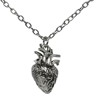 Anatomical Heart Pendant 3D Human Heart Necklace Anatomic Heart Halloween Pendant Nickel Free Alloy Steampunk Style Medical Personnel Prop
