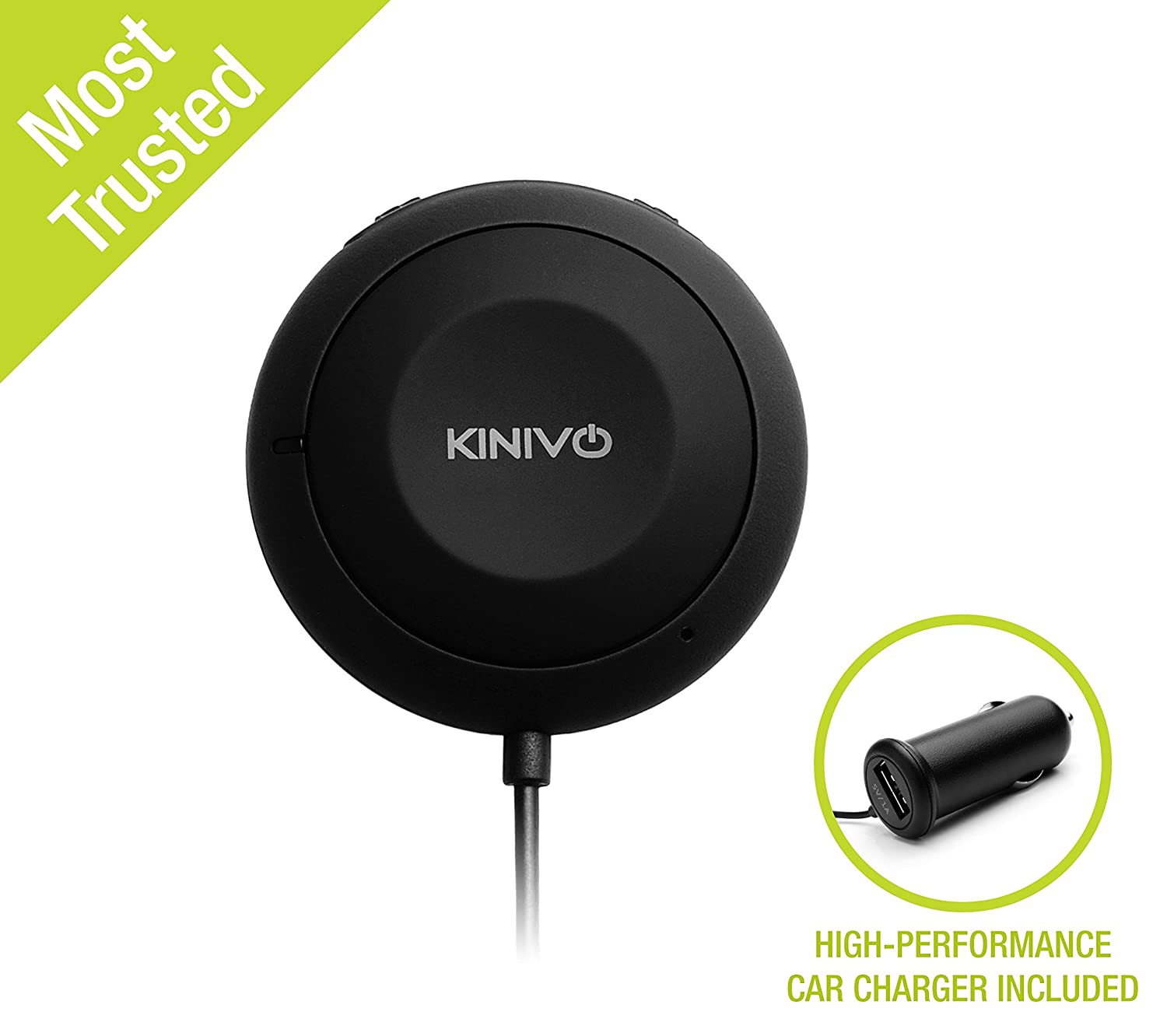 Kinivo BTC450 Bluetooth Hands-Free Car Kit for Cars with Aux Input Jack (3.5 mm) - Supports AptX