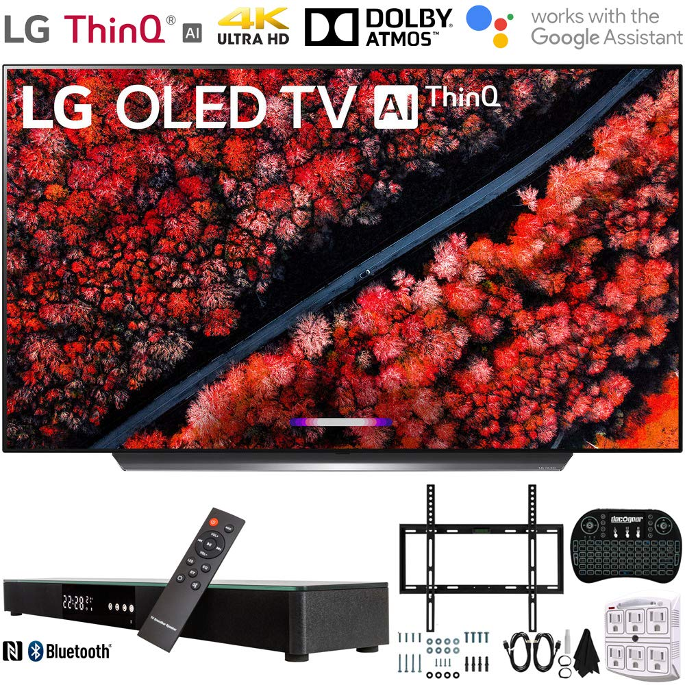 Deco Gear Home Theater Surround Sound 31 Soundbar w// Soundbar Bundle Includes 2019 LG OLED65C9PUA 65 C9 4K HDR Smart OLED TV w// AI ThinQ Flat Wall Mount Kit for 45-90 inch TVs and More