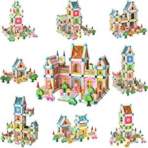 Migargle Wooden Building Blocks Set for Kids Children Men Preschool Boys and Girls DIY Construction Learning Educational 3D Wooden Assembled STEM Toys Tile Game, 268 Pcs