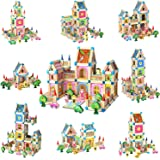 Wooden Building Blocks Set for Kids Toys, Construction Toy and Minifigures, Castle and Farm Building Set, Great Gift for…