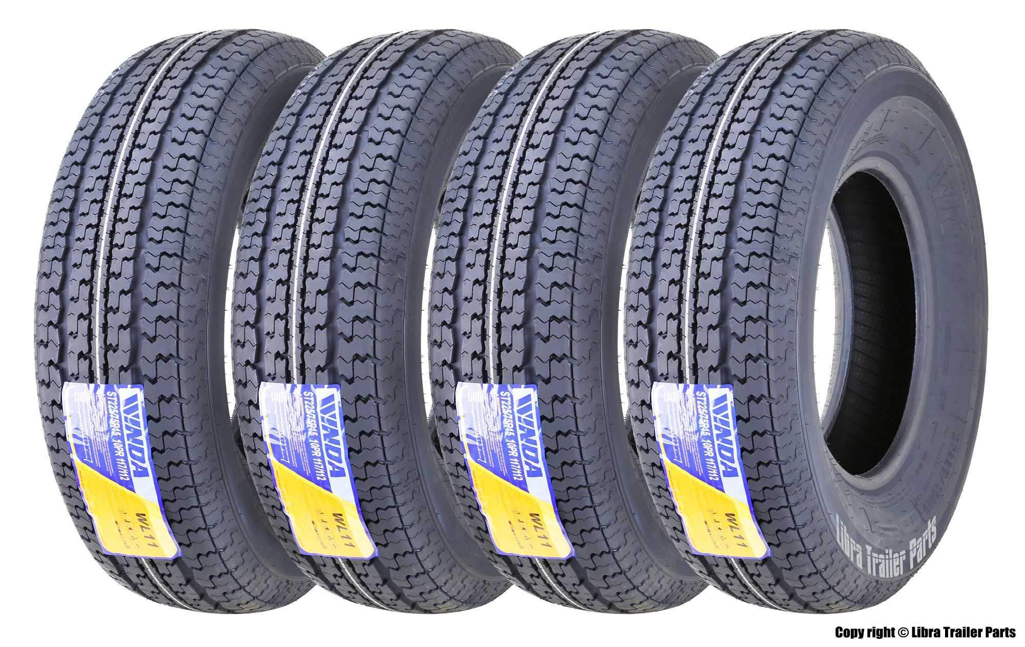 Set of 4 New Premium Trailer Tires ST 225/75R15 10PR Load Range E w/Featured Scuff Guard