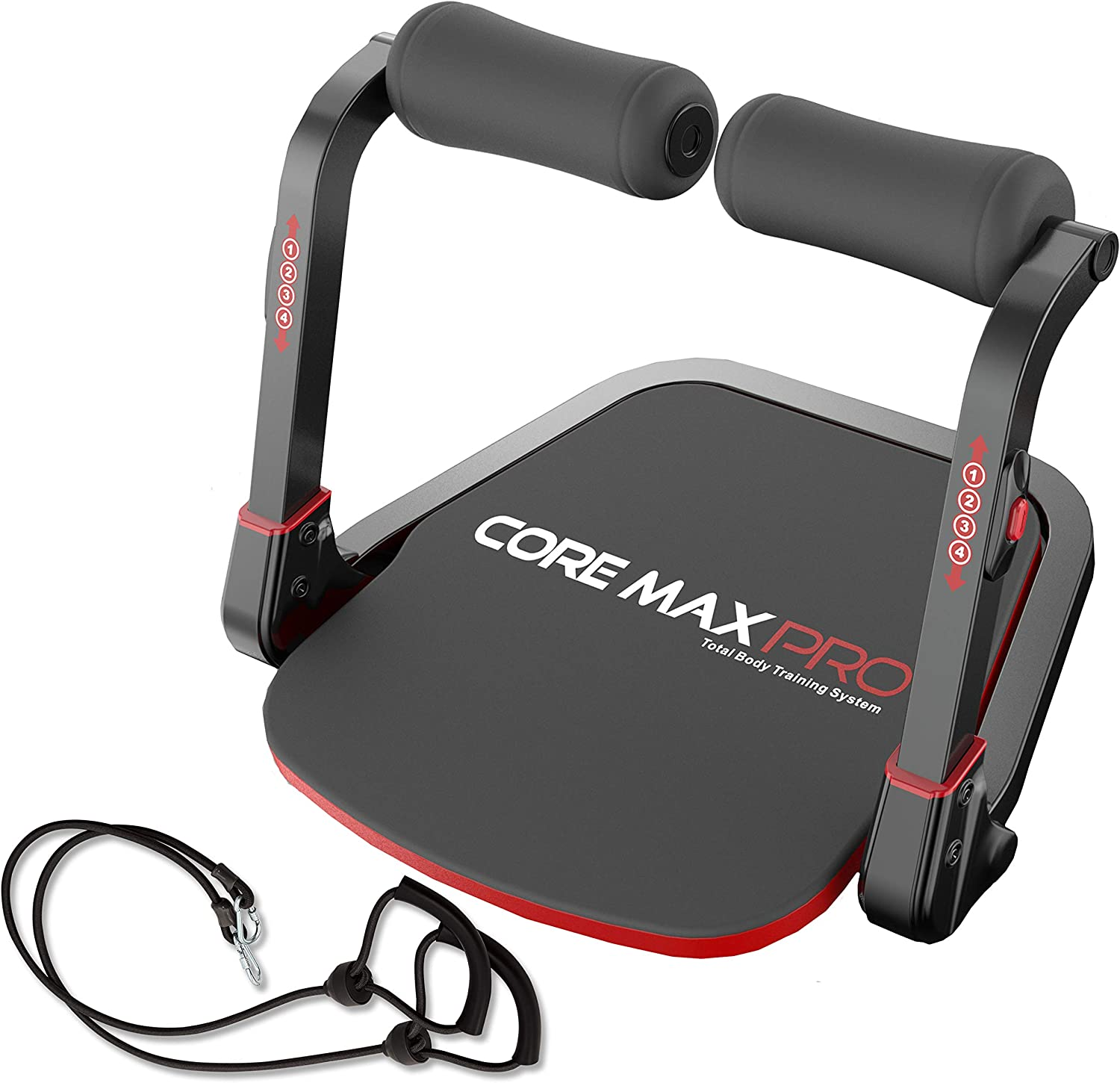 Core Max PRO with Resistance Bands Abs and Total Body Smart 8 min Workout & Cardio Machine, Red/Black : Sports & Outdoors