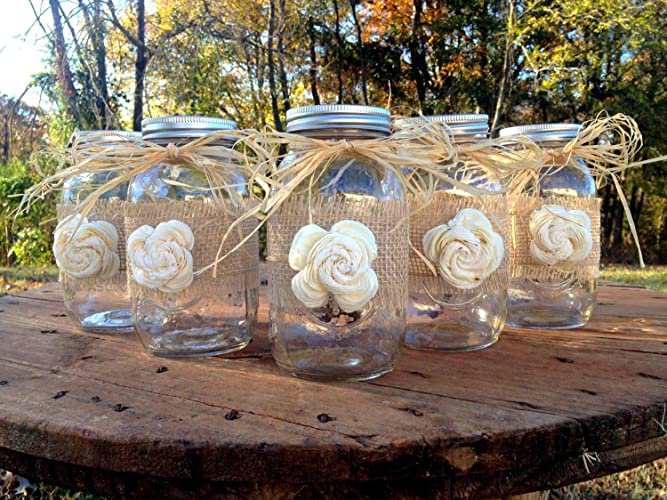 Amazon Rustic Mason Jars With Sola Flower Rustic Wedding