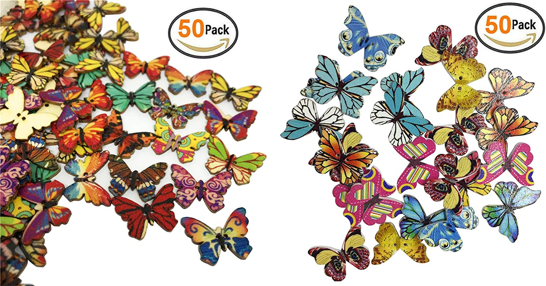 "NEW/""  Mixed Butterfly Wooden Button BlueXP Wooden Painted Butterfly Button Craft"