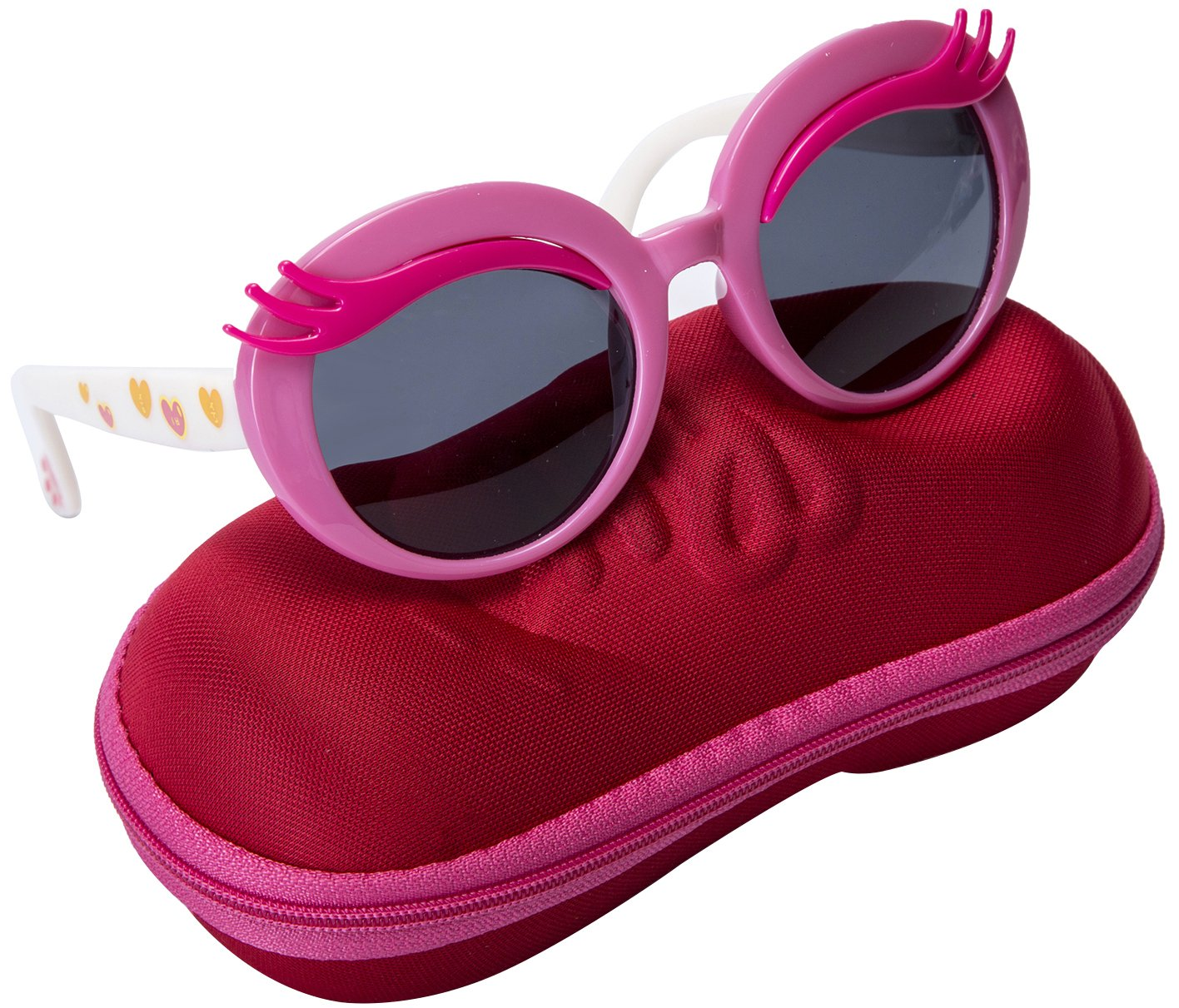 Comcl Girls Eyelash Polarized Sunglasses - UV Protection Kids Sunglasses 45mm Fit for Aged 4-9 With Shoe Shape Case