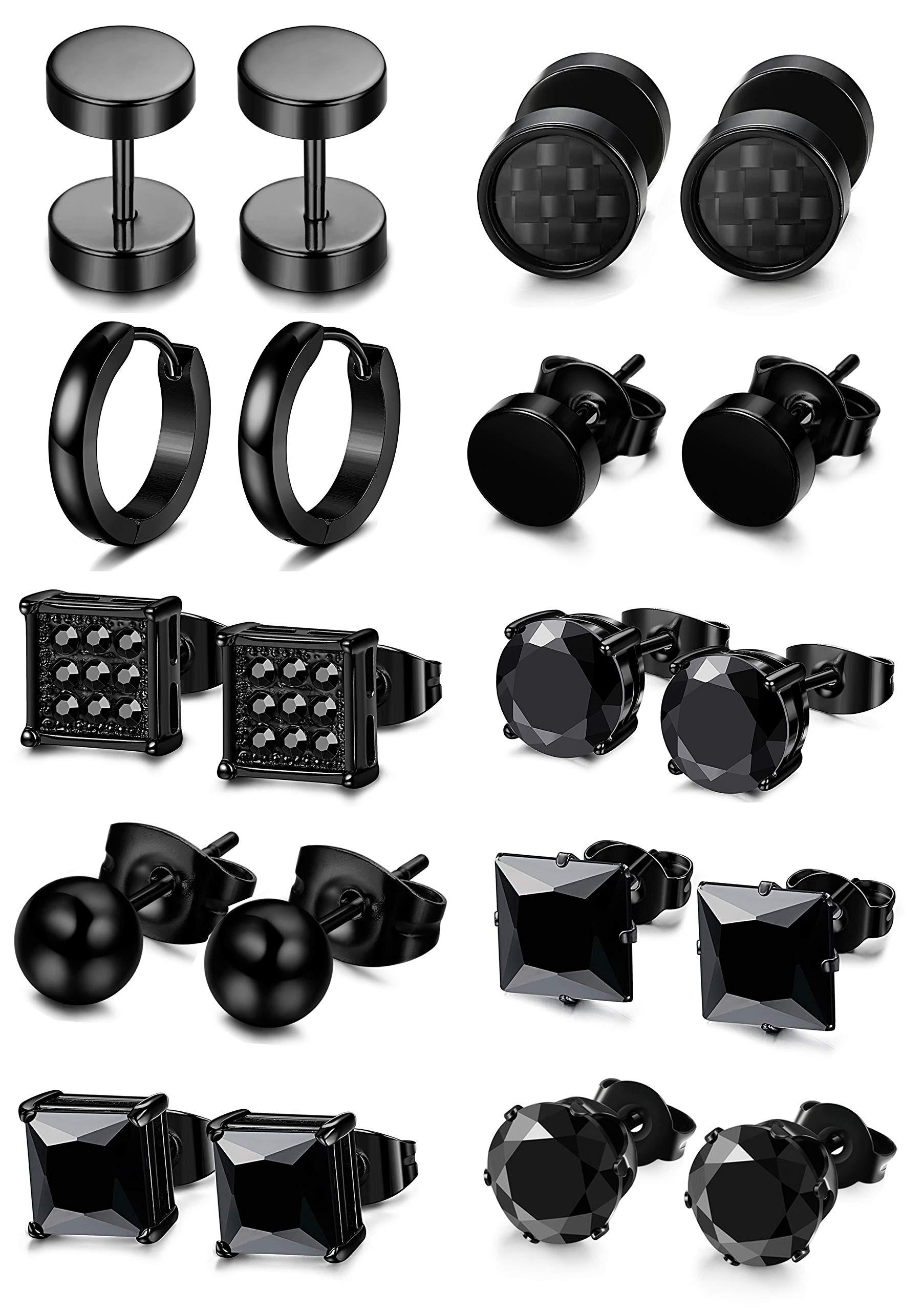 FIBO STEEL 5-10 Pairs Stainless Steel Black Stud Earrings for Men Women Huggie Earring Ear Piercing Set Hoop by FIBO STEEL