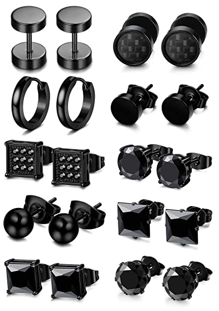 6b7cbceec Amazon.com: FIBO STEEL 5-10 Pairs Stainless Steel Black Stud Earrings for Men  Women Huggie Earring Ear Piercing Set Hoop: Jewelry