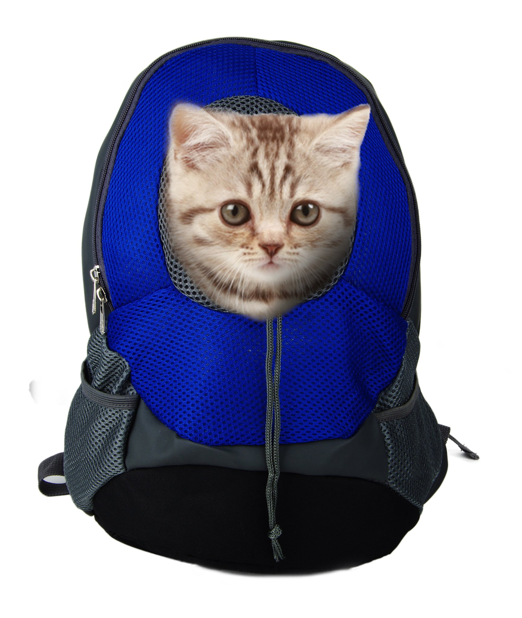 Pet Carrier Backpacks Adjustable Dogs Cats Breathable Oxford Travel Carriers for Walking, Hiking, Bike and Motorcycle (S, Blue)