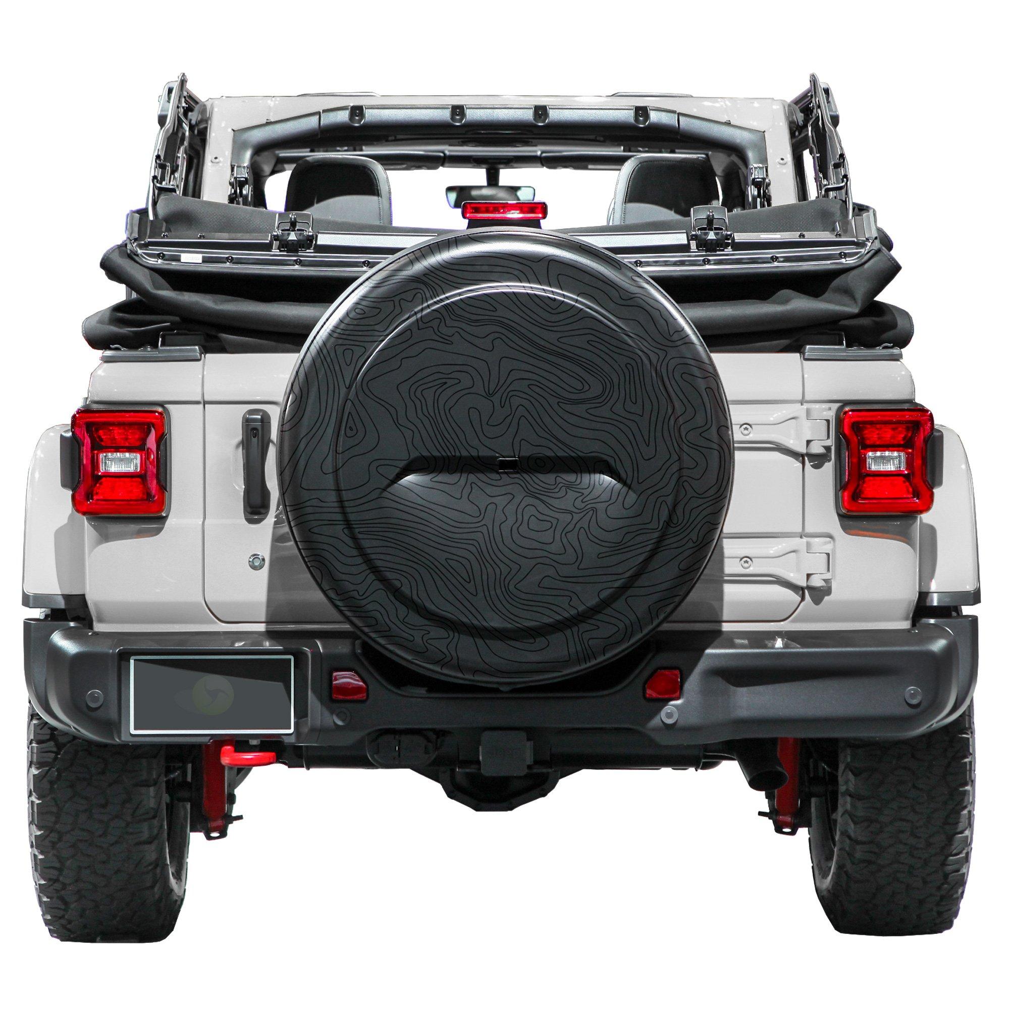2018 Jeep Wrangler JL & JLU - 32'' Rigid Tire Cover (Plastic Face & Vinyl Band) - Topo Map Graphic
