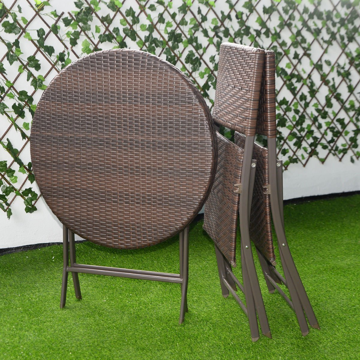 Round Wicker Coffee Table With Stools: Giantex 3PC Folding Round Table Chair Bistro Set Rattan