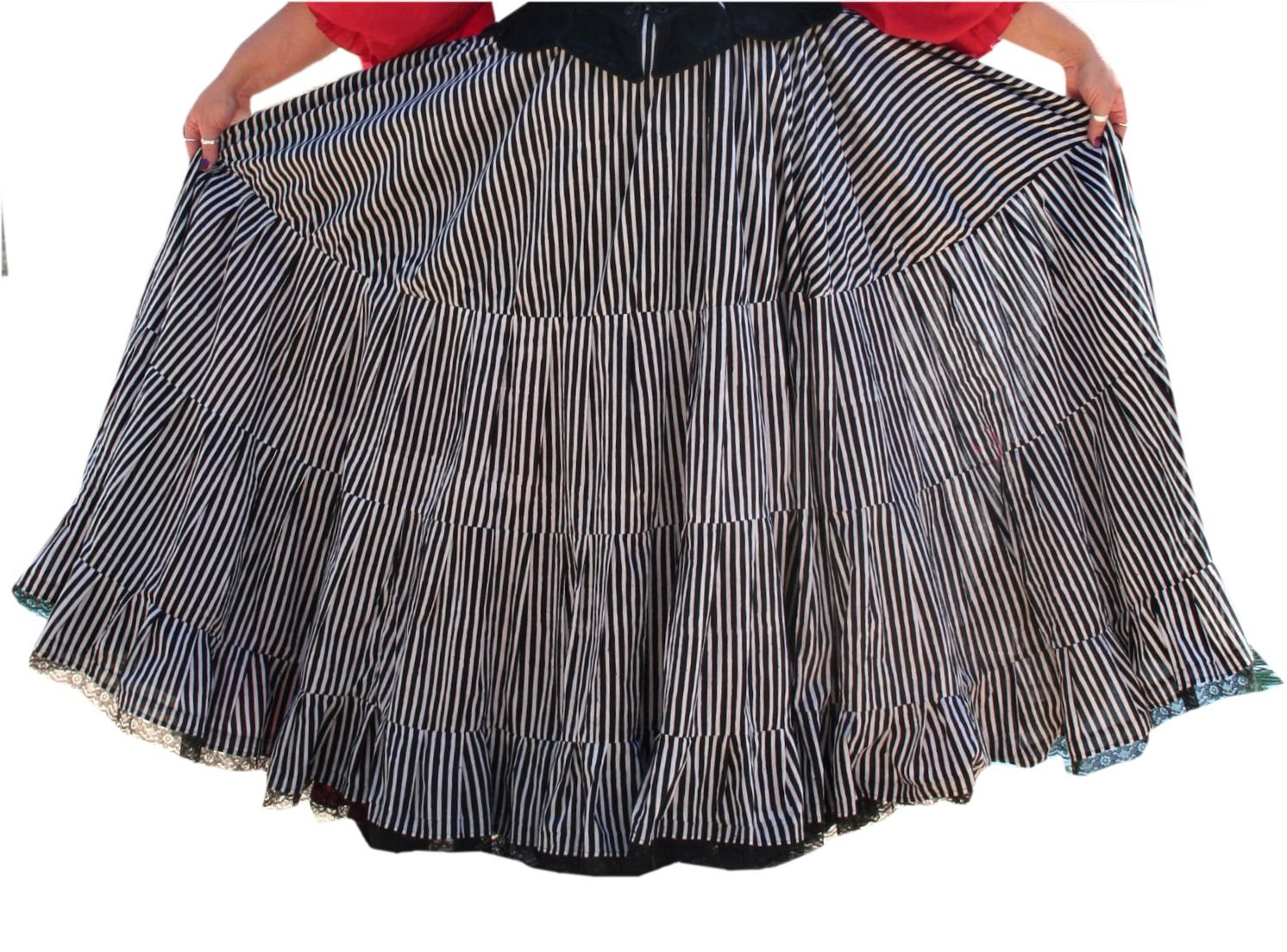 Renaissance Plus Size Skirt by BBW Boutique in Pirate Striped - One Size