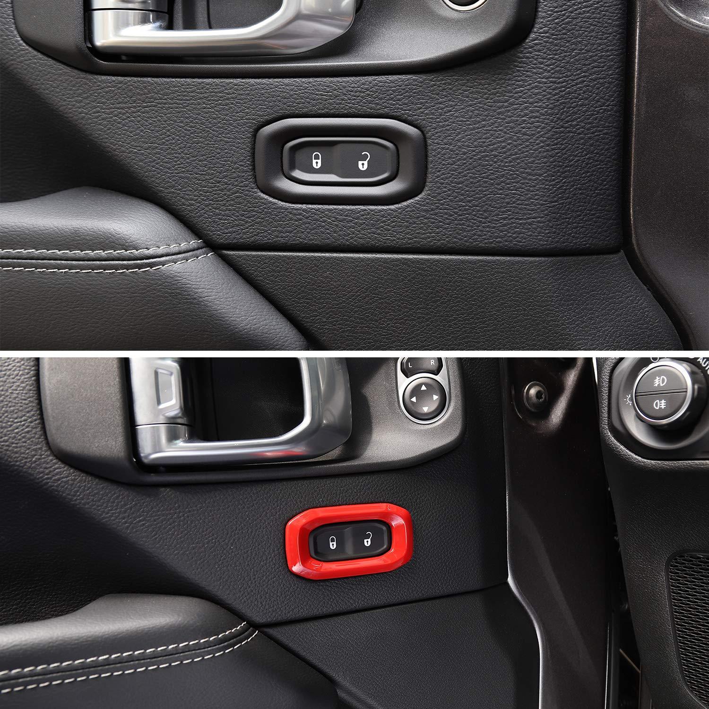 JeCar Door Lock Switch Trim Cover Interior Accessories for 2018 2019 2020 Jeep Wrangler JL JLU Sport Sahara Rubicon /& 2020 Jeep Gladiator JT Red