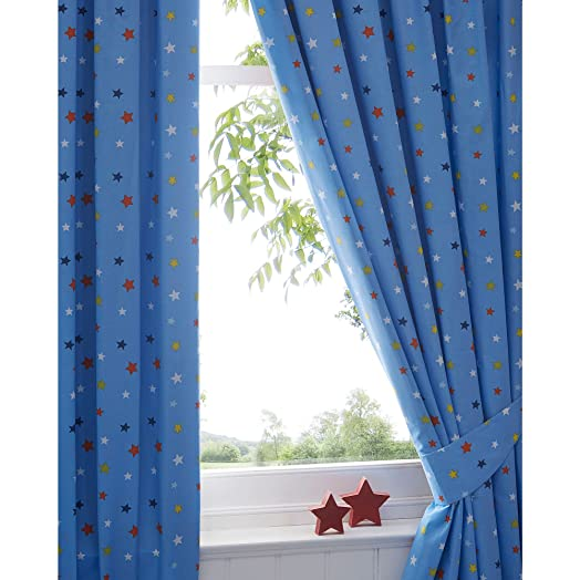 Good Bluezoo Blue Star Curtains 168Cm X 137Cm Drop