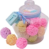 Rose Ball Soaps Decorated Plastic Jar – Unique Premium Handmade Gift Set Kit for Women – The Perfect Romantic Home Decor Present