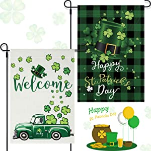 2 Pieces St. Patrick's Day Garden Flag Shamrocks Burlap Yard Flag Welcome Green Hat Truck Decorative Flag Double Sided Holiday Garden Flags for St. Patrick's Day Outdoor Decoration, 12.5 x 18.5 Inches