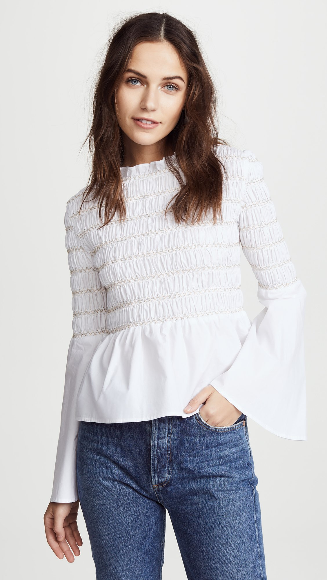 endless rose Women's Smocked Poplin Top, Off White, Small by endless rose (Image #2)