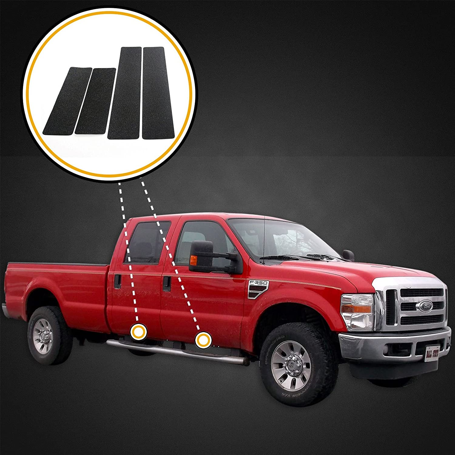 Custom Fit 1999-2015 Compatible with Ford Super Duty Crew Cab Door Sill Scuff Plate Scratch Protectors 4pc Kit Paint Protection Scuff Threshold Shield Set