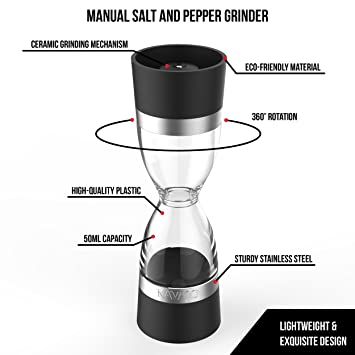 Amazon.com: Dual Salt and Pepper Mill - Adjustable Ceramic Grinder for different Coarseness: Kitchen & Dining