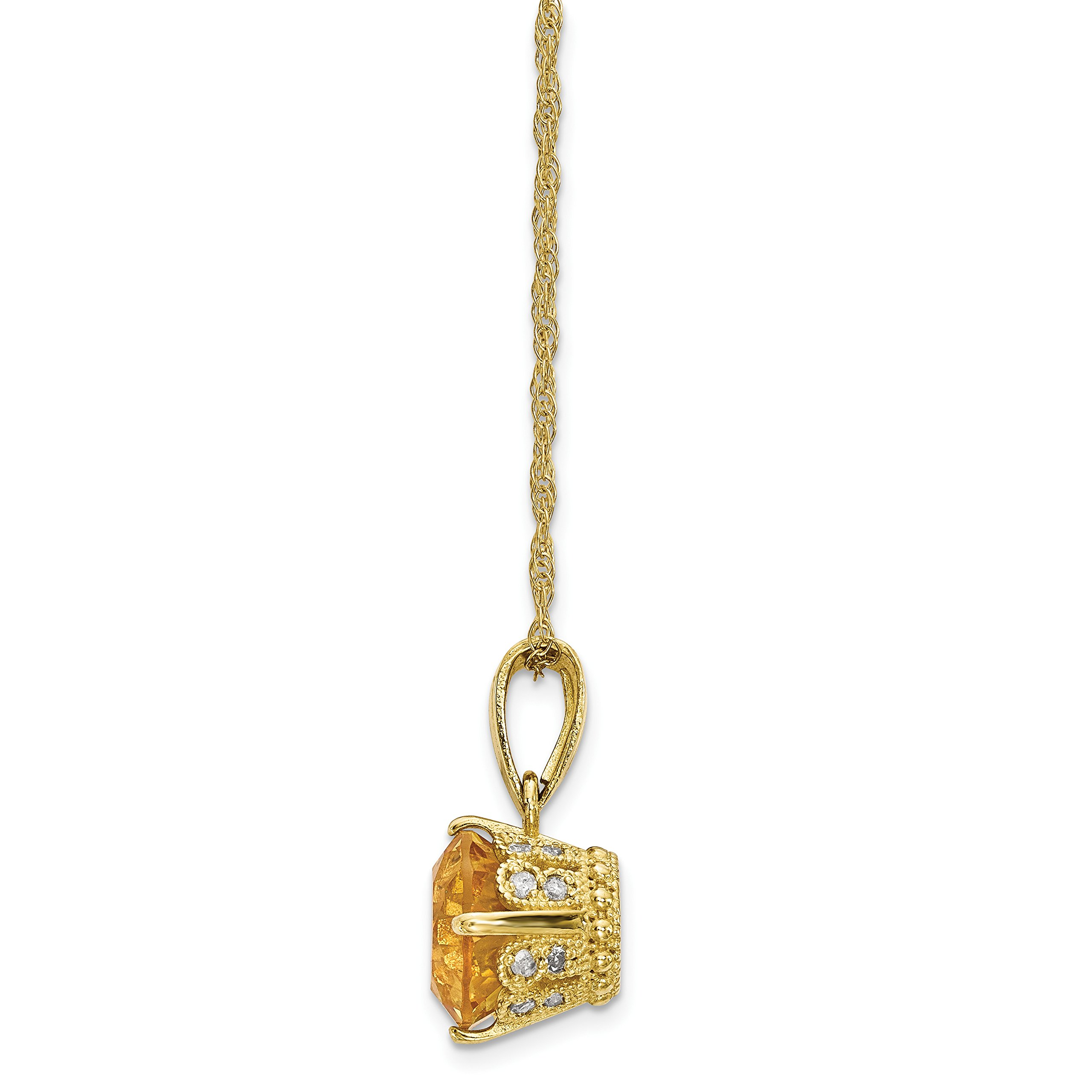 ICE CARATS 10k Yellow Gold Tiara Collection Diamond Citrine Chain Necklace Set Gemstone Fine Jewelry Gift Set For Women Heart by ICE CARATS (Image #2)