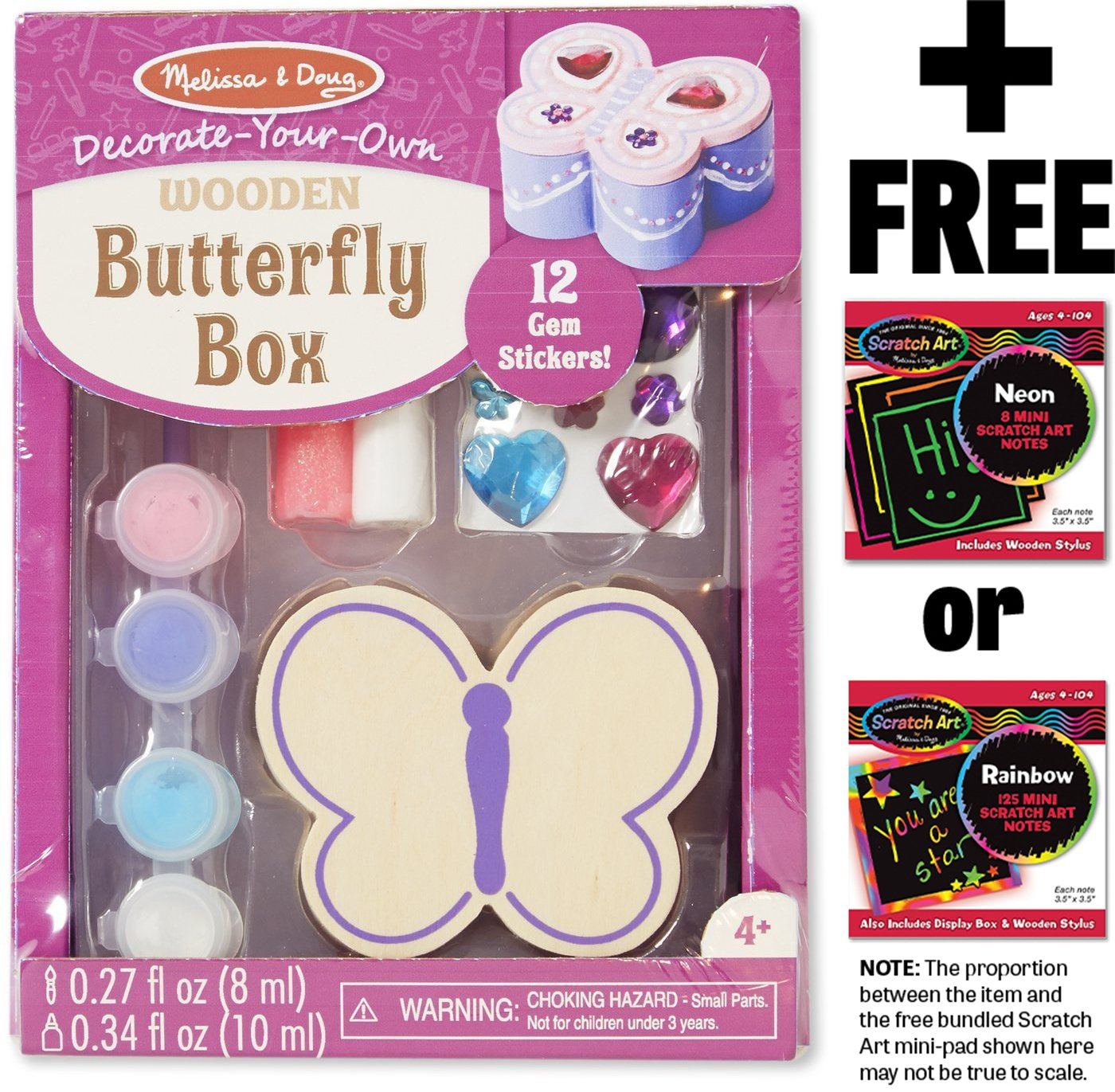 Wooden Butterfly Box Decorate-Your-Own Kit 88534 FREE Melissa /& Doug Scratch Art Mini-Pad Bundle