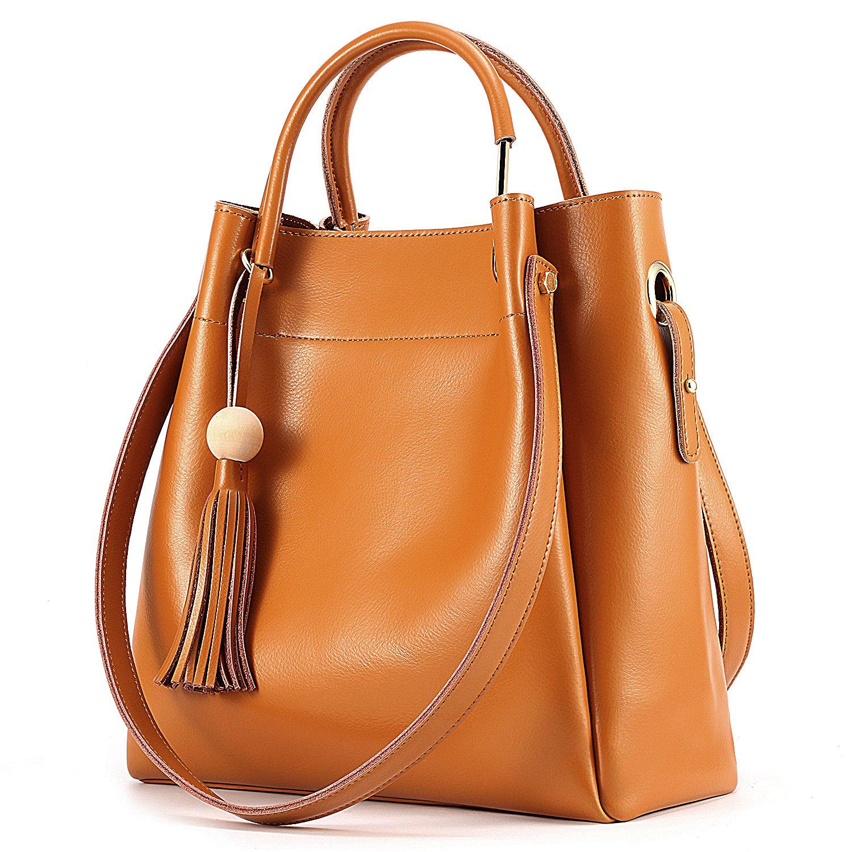 Kattee Women's Genuine Leather Hobo Tote Shoulder Bag with Tassel (Brown)