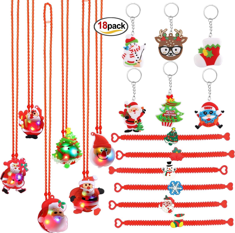 HOWAF 36pcs Christmas Party Supplies LED Lights Up Christmas Necklace Slap Bra