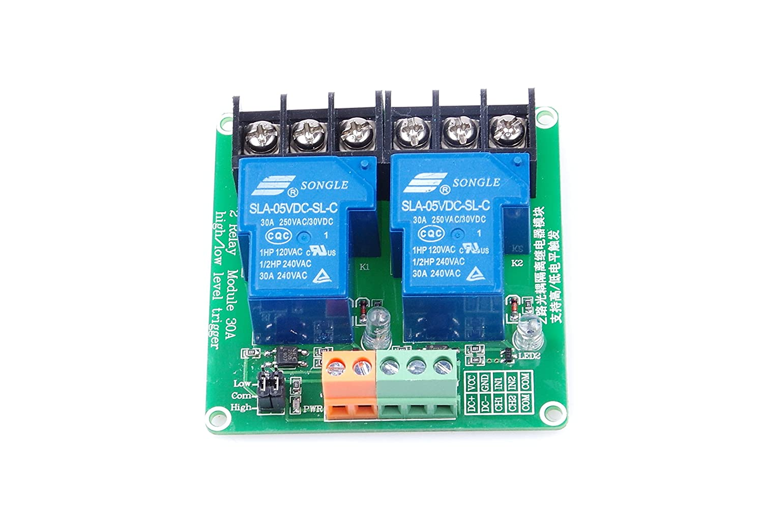 2 Channel Relay Module High Low Level Triggering Dc5v To Dc30v Converter By 74hc14 Optocoupler Isolation Load 30a Dc 30v Ac 250v For Plc Automation Control Industrial System