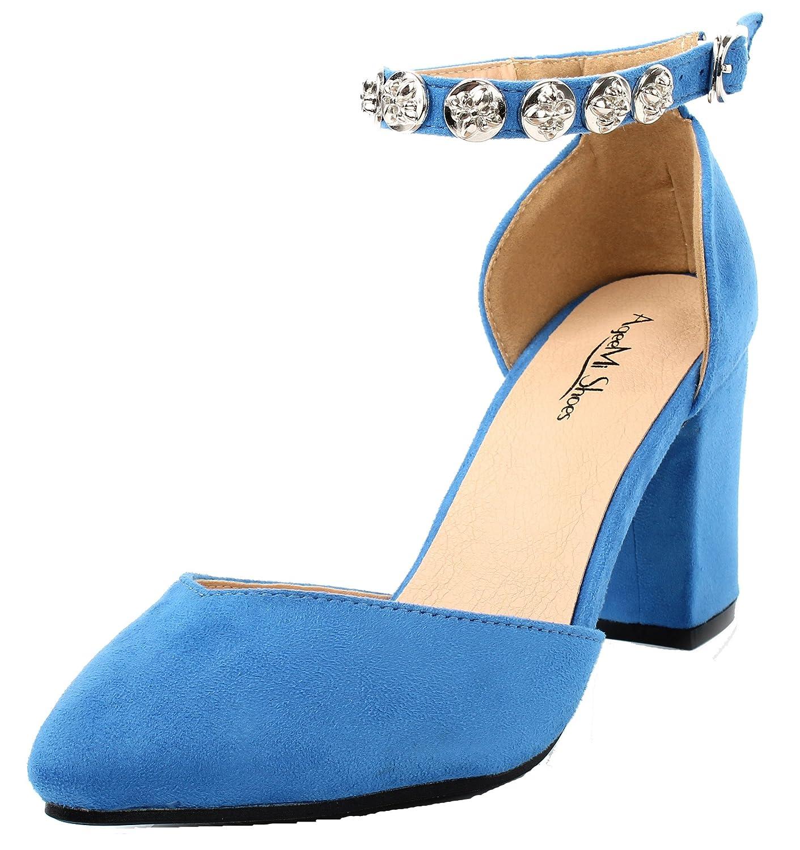 AgeeMi Shoes Mujeres hebillas Tacón Bolque de Salón con Diamantes Sintéticos