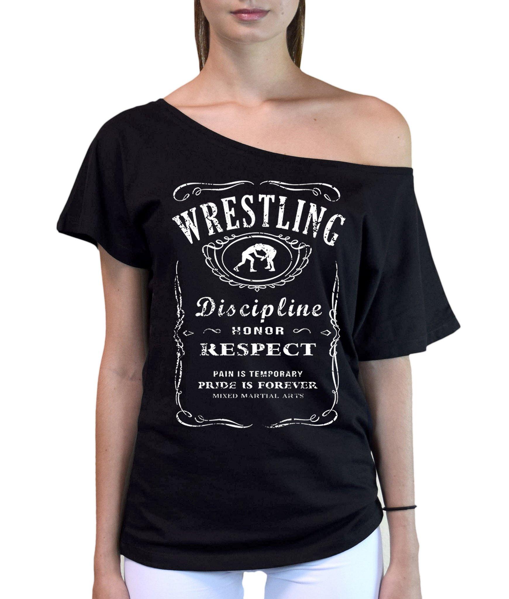 Interstate Apparel Inc Junior's MMA Wrestling Whiskey Label Black Off-Shoulder T-Shirt Small Black
