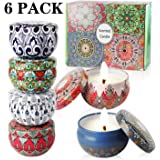 Nancia 6 Pack Scented Candles Gift Set (Lavender, Rose,Vanilla,Amber Musk,Lemongrass,Orange) Soy Wax Tin Candles, Natural Fragrance Candles for Stress Relief and Aromatherapy Candles