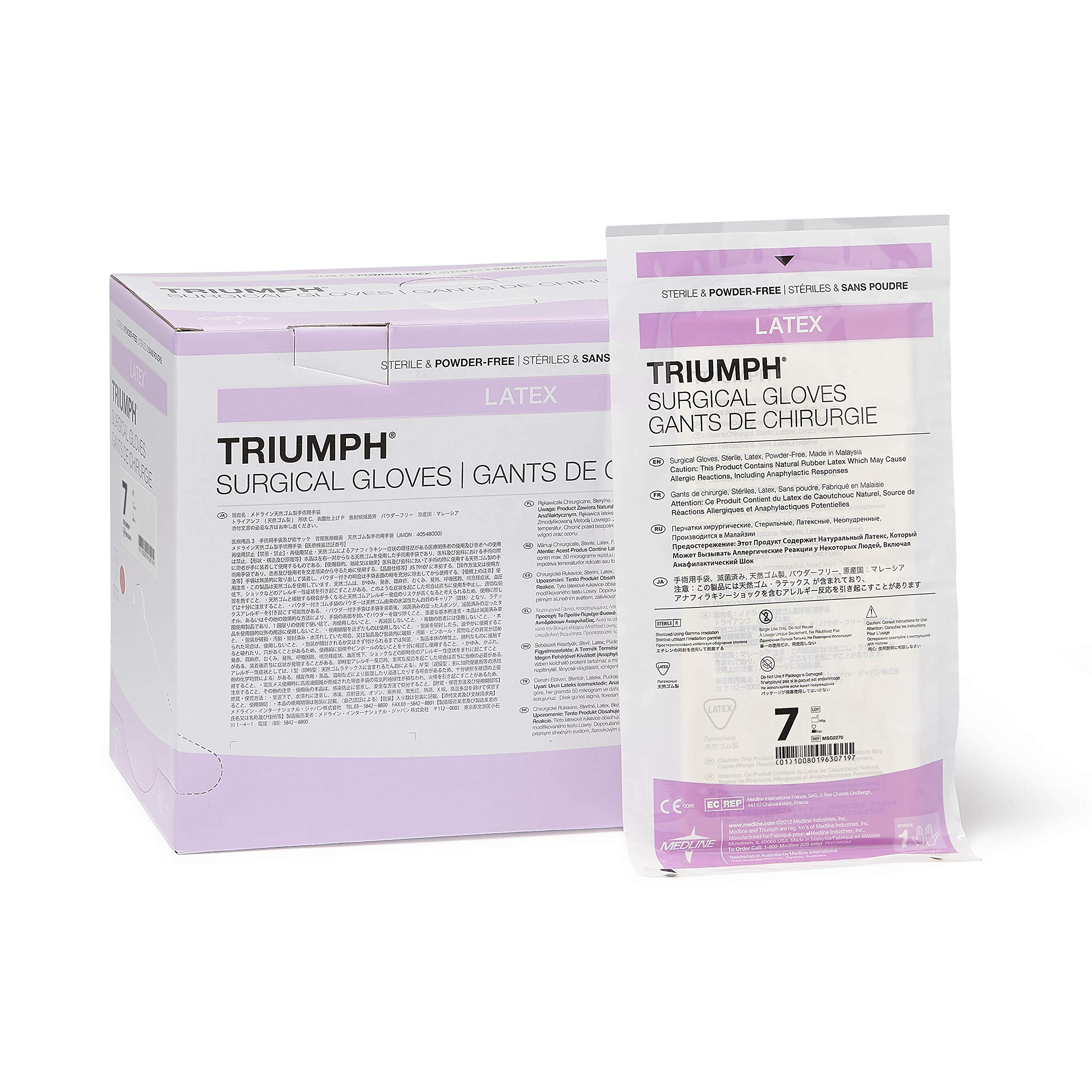 Medline MSG2270 Triumph Sterile Powder-Free Latex Surgical Glove, Size 7, White (Pack of 200) by Medline